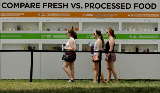 In this Saturday, July 23, 2016, photo, people are reflected in windows as they view a display contrasting processed and fresh food at Chipotle's Cultivate Festival in Kansas City, Mo. Cultivate festivals encapsulate the food industry's hottest marketing