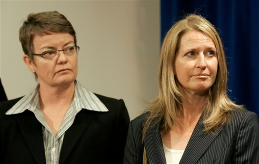 In this photo from July 2, 2009, Kristin Perry, left, and Sandra Stier are shown at a news conference at the Federal Building in San Francisco. (AP Photo/Jeff Chiu)