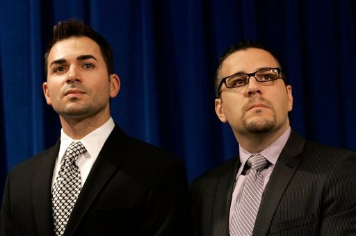 In this photo from July 2, 2009, Jeff Farrillo, left, and Paul Katami are shown at a news conference at the Federal Building in San Francisco. (AP Photo/Jeff Chiu)