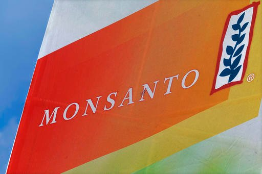 Monsanto logo on display at the Farm Progress Show in Decatur, Ill.