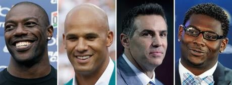 From left are file photos showing Terrell Owens, Jason Taylor, Kurt Warner and LaDainian Tomlinson. The list of Modern-Era nominees for the Pro Football Hall of Fame's Class of 2017 is comprised of 94 players and coaches. Owens, Taylor, Warner and Tomlins