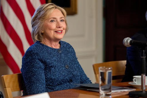 Democratic presidential candidate Hillary Clinton attends a National Security working session at the Historical Society Library in New York.