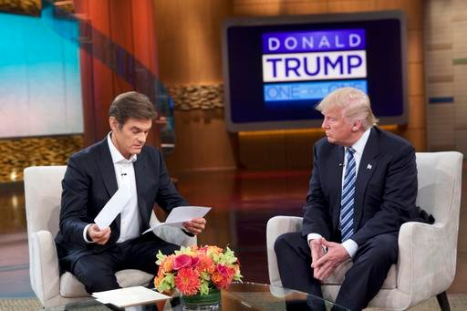 "Sony Pictures Entertainment shows Dr. Oz, left, and Republican presidential candidate Donald Trump during a taping of ""The Dr. Oz Show,"" in New York."