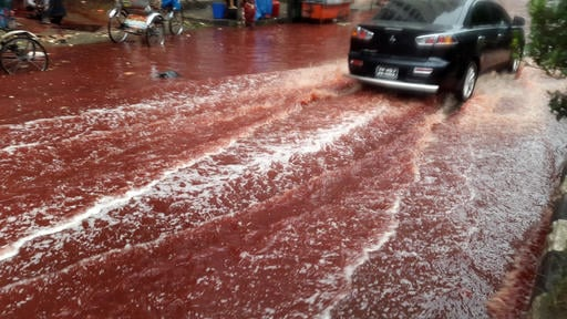 In this Tuesday, Sept. 13, 2016 photo, a car drives past a road turned red after blood from sacrificial animals on Eid al-Adha mixed with water from heavy rainfall in Dhaka, Bangladesh. Authorities in Dhaka had assigned several places in the city where re