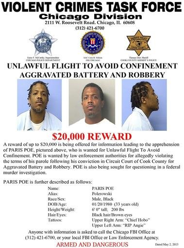 This undated wanted poster provided by the Violent Crimes Task Force, Chicago Division, shows photos of Paris Poe. Poe is one of six defendants on trial for racketeering and other charges are purported leaders of the widely feared Hobos, a South Side gang