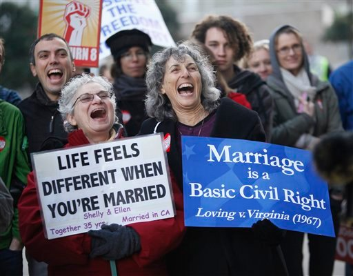 Lesbian couple Shelly Bailes, left, Ellen Pontac, right, who were married in 2008, laugh during a rally in front of a federal courthouse in San Francisco, Monday, Jan. 11, 2010. (AP Photo/Paul Sakuma)