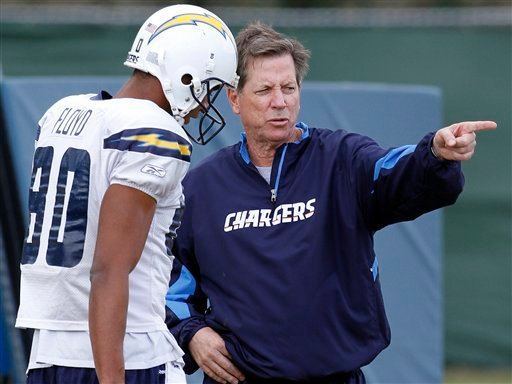 San Diego Chargers coach Norv turner instructs wide receiver Malcom Floyd on a pass pattern during practice Wednesday Jan. 13, 2010, in San Diego.