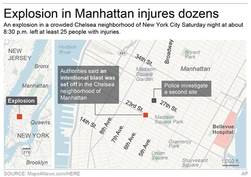 Graphic locates the site of an explosion in the Chelsea neighborhood of Manhattan; 3c x 3 1/2 inches; 146 mm x 88 mm
