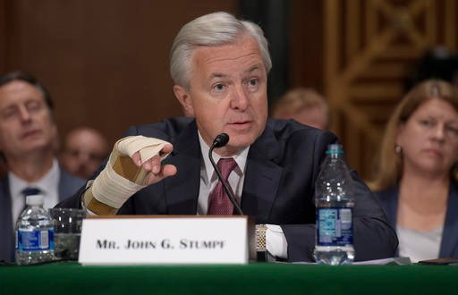 Wells Fargo Chief Executive Officer John Stumpf testifies on Capitol Hill in Washington, Tuesday, Sept. 20, 2016, before Senate Banking Committee. Stumpf was called before the committee for betraying customers' trust in a scandal over allegations that emp