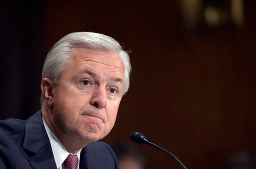 Wells Fargo Chief Executive Officer John Stumpf testifies on Capitol Hill in Washington, Tuesday, Sept. 20, 2016, before the Senate Banking Committee. Stumpf was called before the committee for betraying customers' trust in a scandal over allegations that