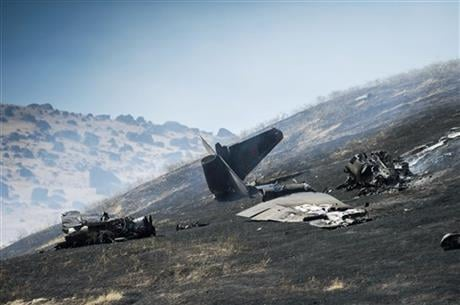 The U.S. Air Force says one pilot was killed, and one was injured after they ejected from the plane. (Hector Amezcua/The Sacramento Bee via AP)
