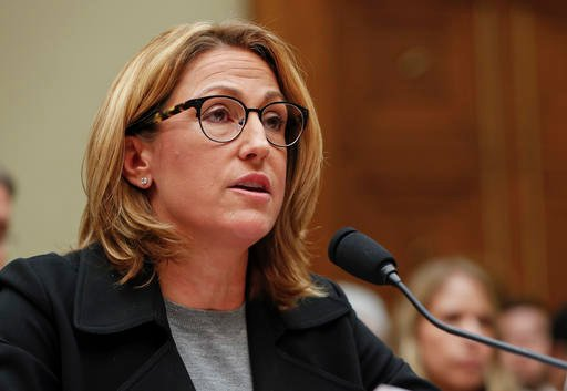 Mylan CEO Heather Bresch testifies on Capitol Hill in Washington, Wednesday, Sept. 21, 2016, before the House Oversight Committee hearing on EpiPen price increases. Bresch defended the cost for life-saving EpiPens, signaling the company has no plans to lo