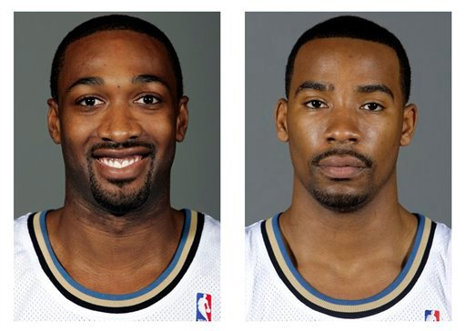 Washington Wizards' Gilbert Arenas , left, (2008) and Javaris Crittenton (2009) are shown in Washington. Arenas and Crittenton were suspended for the remainder of the season on Wednesday, Jan. 27, 2010.