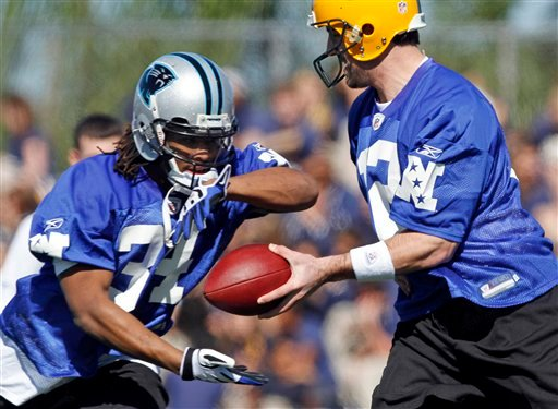 Green Bay Packers quarterback Aaron Rodgers (12) hands the ball to Carolina Panthers' DeAngelo Williams (34) during NFC NFL football practice at the Pro Bowl. (AP Photo/J Pat Carter)