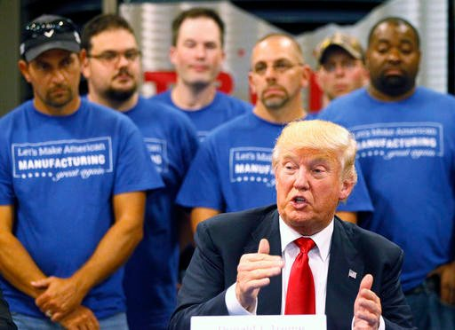 Republican presidential candidate Donald Trump speaks during a campaign stop, Wednesday.