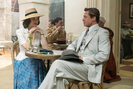 "Paramount Pictures shows Marion Cotillard, left, and Brad Pitt in a scene from, ""Allied,"" in theaters on November 23."