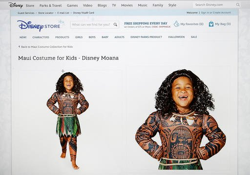 This photograph of a computer screen shows the DisneyStore.com website's Maui Halloween costume on Wednesday, Sept. 21, 2016.