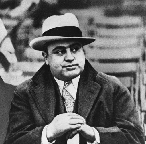 Chicago mobster Al Capone at a football game.