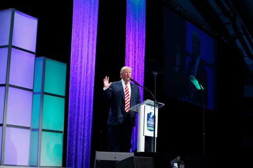 Republican presidential candidate Donald Trump speaks at the Shale Insight Conference.