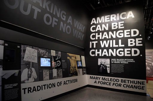 An exhibit featuring activism is on display at the National Museum of African American History and Culture in Washington.
