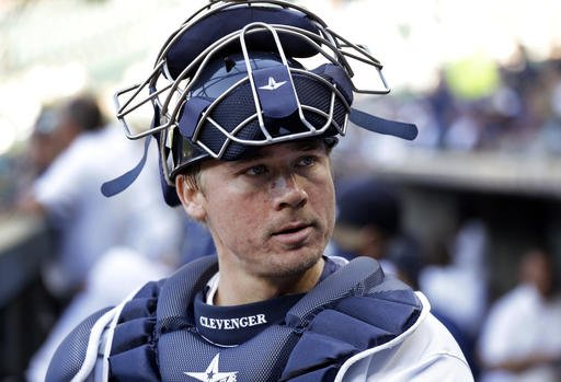 A June 29, 2016, file photo, Seattle Mariners catcher Steve Clevenger looks out of the dugout before a baseball game against the Pittsburgh Pirates in Seattle.