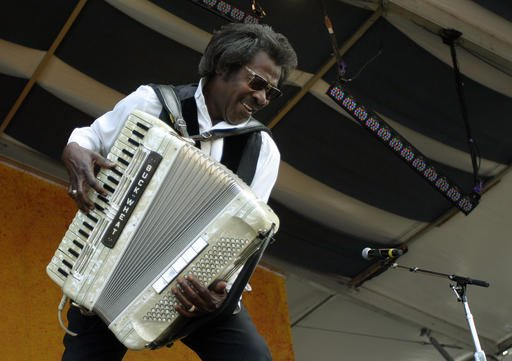 Buckwheat Zydeco performs during the 2007 Jazz and Heritage Festival in New Orleans.