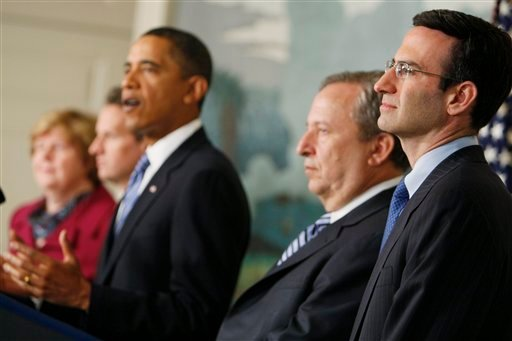 Budget director Peter Orszag, right, looks on as President Barack Obama announces a new fee on big banks to recover up to $120 billion in taxpayers' money. (AP Photo/Charles Dharapak)