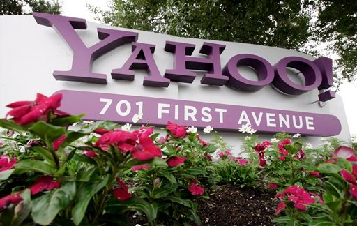 In this July 29, 2009 file photo, a sign outside Yahoo headquarters in Sunnyvale, Calif. is shown. (AP Photo/Paul Sakuima, File)
