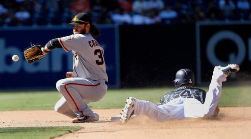 San Francisco Giants shortstop Brandon Crawford, left, can't catch the throw from the catcher, as San Diego Padres' Wil Myers, right, steals second base during the fifth inning of a baseball game in San Diego, Sunday, Sept. 25, 2016. (AP Photo/Alex Gallar