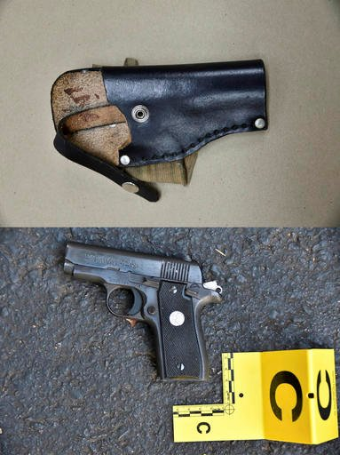 Photos provided by Charlotte-Mecklenburg PD Sept. 24, 2016 shows an ankle holster, top, & gun which police say were in Keith Scott's possession at the time he was fatally shot by police in Charlotte, N.C. (Charlotte-Mecklenburg Police Department via AP)