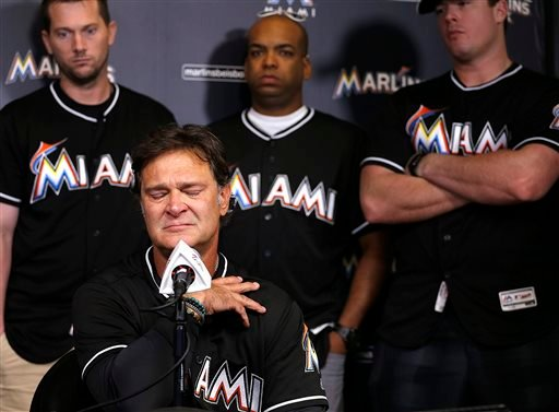 Miami Marlins manager Don Mattingly struggles with his emotions as he speaks during the team's press conference about the death of Jose Fernandez, Sunday, Sept. 25, 2016.