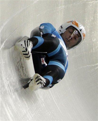Nodar Kumaritashvili of Georgia is seen just before crashing during a training run for the men's singles luge at the Vancouver 2010 Olympics in Whistler, British Columbia, Friday, Feb. 12, 2010. (AP Photo/Ricardo Mazalan)