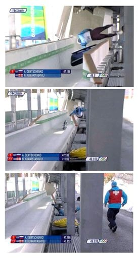 In this three image combination frame grab taken from video provided by the IOC Media Broadcast, Georgian luge athlete Nodar Kumaritashvili loses control of sled and crashes during a high-speed training run at the Olympic Sliding Center.