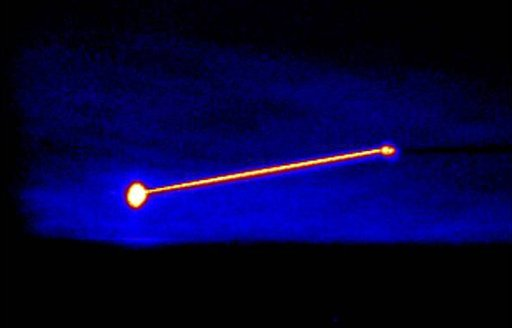 This image provided by the U.S. Department of Defense shows an infrared image of the Missile Defense Agency's Airborne Laser Testbed, right point, destroying a target missile, left point, on Thursday, Feb. 11, 2010.