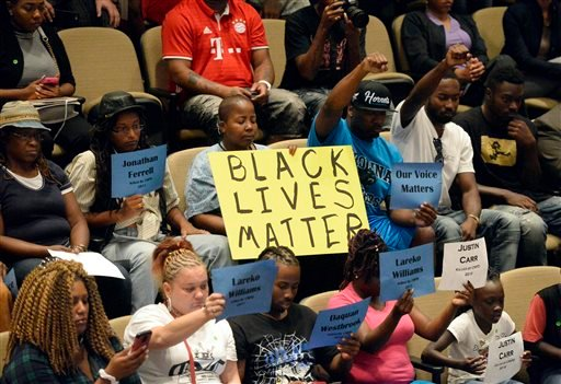 Audience members show support for speakers at the Charlotte City Council.