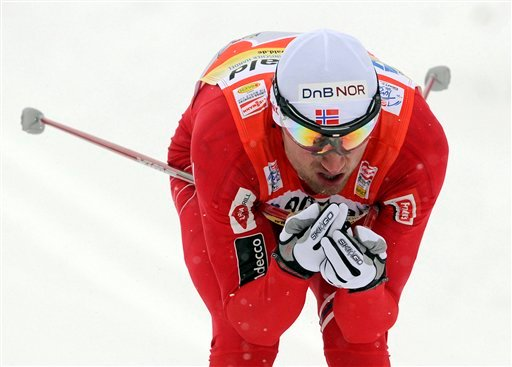 In this Jan. 3, 2010, file photo, Second-placed Petter Northug, of Norway, competes during the qualification Tour de Ski Men 1.6 km classical sprint race in Oberhof, central Germany. (AP Photo/Jens Meyer, File)