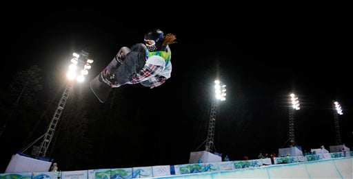 Shaun White of the USA compete in the men's halfpipe final at the Vancouver 2010 Olympics in Vancouver, British Columbia, Wednesday, Feb. 17, 2010. (AP Photo/Mark J. Terrill)