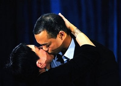 Tiger Woods hugs his mother Kultida Woods after making a statement at the Sawgrass Players Club, Friday, Feb. 19, 2010, in Ponte Vedra Beach, Fla. (AP Photo/Sam Greenwood, Pool)