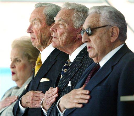 May 29, 2002 file photo, former U.S. secretaries of state, from left, Madeleine Albright, Warren Christopher, Alexander Haig, and Henry Kissinger