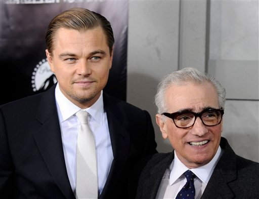 """Actor Leonardo DiCaprio, left, and director Martin Scorsese attend the premiere of """"Shutter Island"""" at The Ziegfeld Theatre, in New York, on Wednesday, Feb. 17, 2010. (AP Photo/Peter Kramer)"""