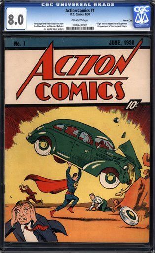 "In this image released by Comic Connect Corp., a the June 1938 cover of ""Action Comics"" that first featured Superman, is shown. (AP Photo/Comic Connect Corp.)"