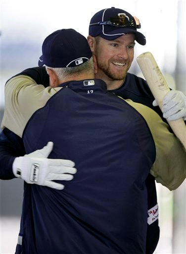 San Diego Padres left fielder Chase Headley, right, gets a hug from Padres first base coach Rick Renteria after hitting in the batting cage during a baseball spring training workout, Monday, Feb. 22, 2010, in Peoria, Ariz. (AP Photo/Charlie Neibergall)