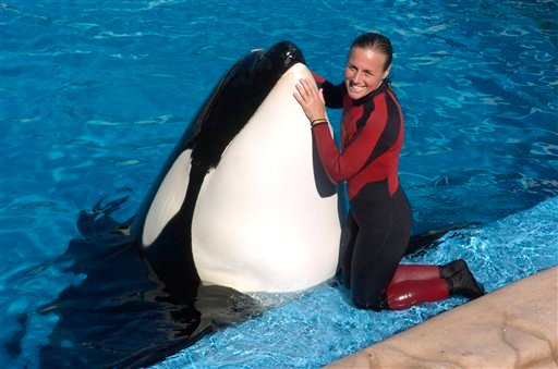 In this photo taken on Dec. 30, 2005, Dawn Brancheau, a whale trainer at SeaWorld Adventure Park, poses while performing. Brancheau was killed in an accident with a killer whale at the SeaWorld Shamu Stadium Wednesday. (AP Photo/Julie Fletcher)