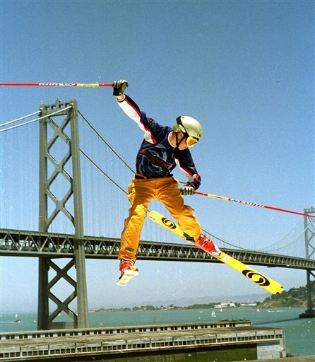 In this June 26, 1999 file photo, C.R. Johnson flies through the air during a practice jump, at the ESPN X games at Pier 30-32 in San Francisco.