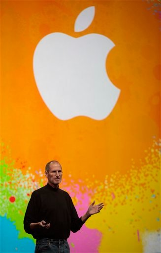 In this Jan. 27, 2010 file photo, Apple CEO Steve Jobs speaks in San Francisco. Apple Inc., buoyed by the success of the iPhones, iPods and computers it churns out to breathless buyers, could give some of its $25 billion in cash back to shareholders.