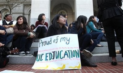 Danielle Lim, 19, a sophomore at the University of California, Santa Cruz, joined more than 150 other UC students and supporters in demonstrating against budget cuts to the UC system held at the capitol in Sacramento, Calif. on Monday, March 1, 2010.