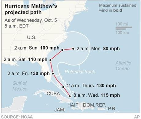 Map locates Hurricane Matthew's potential path