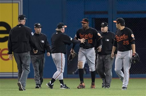 Umpires Ted Barrett, from left, David Rackley, Baltimore Orioles manager Buck Showalter, Orioles' Adam Jones, umpire Eric Cooper and Orioles' Hyun Soo Kim talk after a can was thrown onto the field during play.