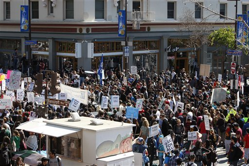 Students protest on the University of California at Berkeley campus Thursday, March 4, 2010, in Berkeley, Calif.