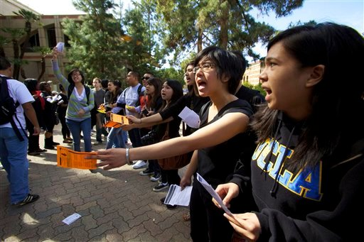 Students rally at the UCLA campus in Los Angeles on Tuesday, March 2, 2010 to protest racially tinged incidents and what they say is an intolerant atmosphere at University of California campuses.